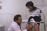 schoolgirl in doctor's office