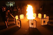 Fire Tornado Created With Twelve Fans