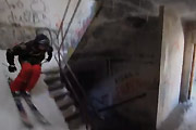Skiing inside five-story building in Alaska