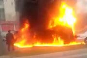 Beijing Cars Erupt In Fireballs