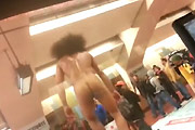Naked Subway Gymnast