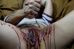 Rough Masturbating Bleeding Pussy