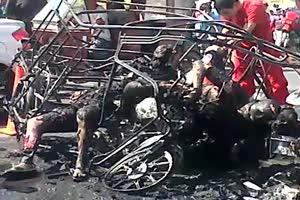 Taxi passengers burned