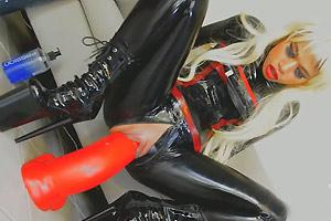 Huge Dildo Fuck In Latex