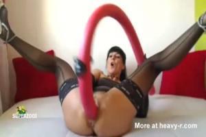 Mature slave masturbates in public