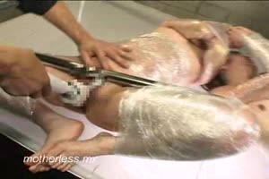 Tied up girls fucked with dildo drill