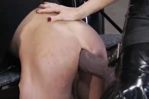 Giant strap-ons tear up a guy's asshole