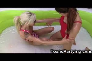 Teenage Besties Tried Oil Wrestling!