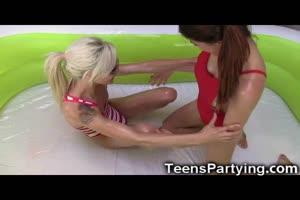Teenage Besties Tried Oil Wrestling!