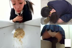 Girls Puking In a Public Toilet