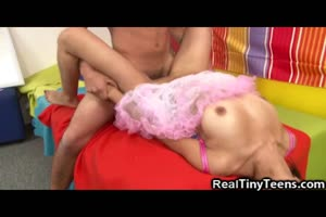 Tiny Teen Dancer Gets Cum On Her Tits!