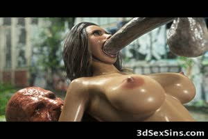 3D Babe Destroyed by Big Mutant Cocks!