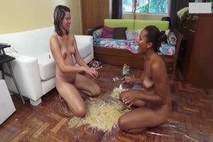 Two Naked Lesbians Puking