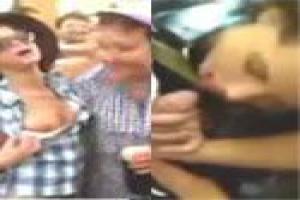 Drunk girl blows stranger at beer festival