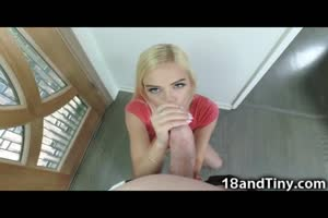 95 lbs Hot Blonde Teen vs Giant Cock!