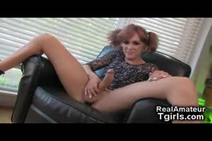 Naughty Teen Tgirl Tastes Her Own Sperm!