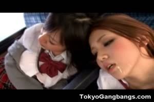 Japanese Coeds Bukkaked in a Bus!