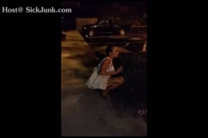 Drunk Bitch Takes Piss Outside Of Restaurant