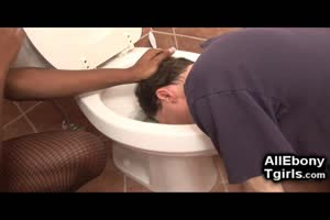 Ebony Trans Domme Punishes The Old Plumber!