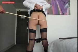 19 yr old slave 8-Caned ass