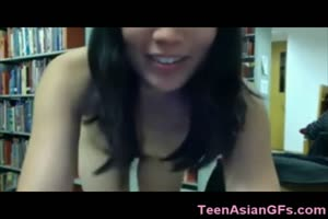 Asian Teen Naked in a Library!