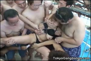 Helpless Asian Gang Raped At Public Pool