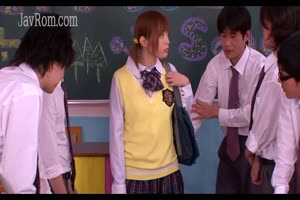 Shy japanese teen schoolgirls blowjob bukkake