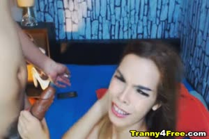 Two Tranny Babe Sucking And Fucking On Webcam