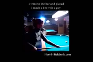 Bitch Lost A Bet At Pool, Forced To Fuck