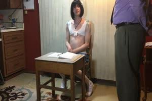 Sissy Schoolgirl Fucked In Chastity