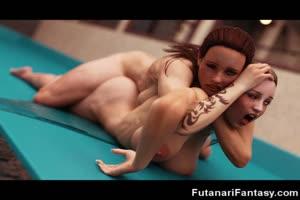 3D Futanari Babes Orgasming!