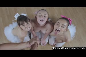 3 Teeny Ballerinas Share Huge Facial!