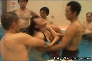 Helpless Teen vs 15 Pool Pervs!