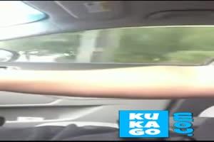 Car dickflash with cum! Im Auto beim Fahren gewichst