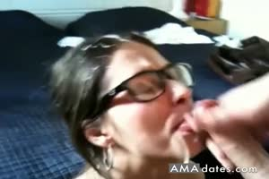 Nerdy Brunette Cum Covered