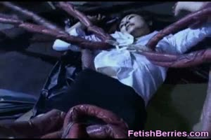Scared Girl Undressed by Tentacles!