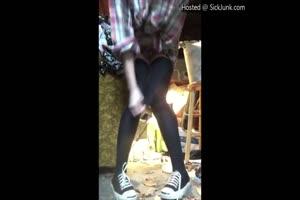 Creepy Teen Pisses On Her Floor As She Eats Her Panties