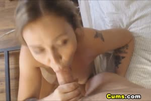 Guy Cums on Her Girlfriend's Huge Tits