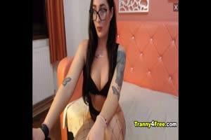 Pretty Hot Asian Tranny Strip and Stroke her Cock