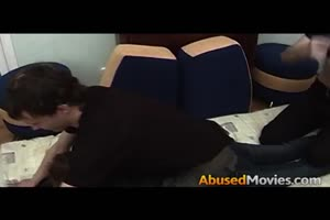 two men strip and rape this bitch