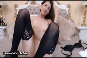 USA Teen In A Black Stockings Ramming Her Pussy With Her Friend