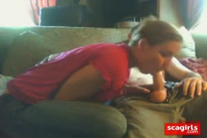 Home from work: couch, tv and blowjob