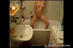 Watch NOT my kinky sister fingering in bath room. Hidden cam