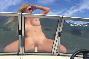 MILF Riding Big Dildo On Board