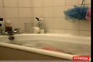 Cute teen caught in bath
