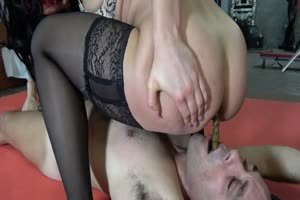 Cute Mistress Feeding Toilet Slave