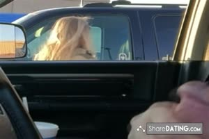 Car Flash - Sexy blonde loves the view